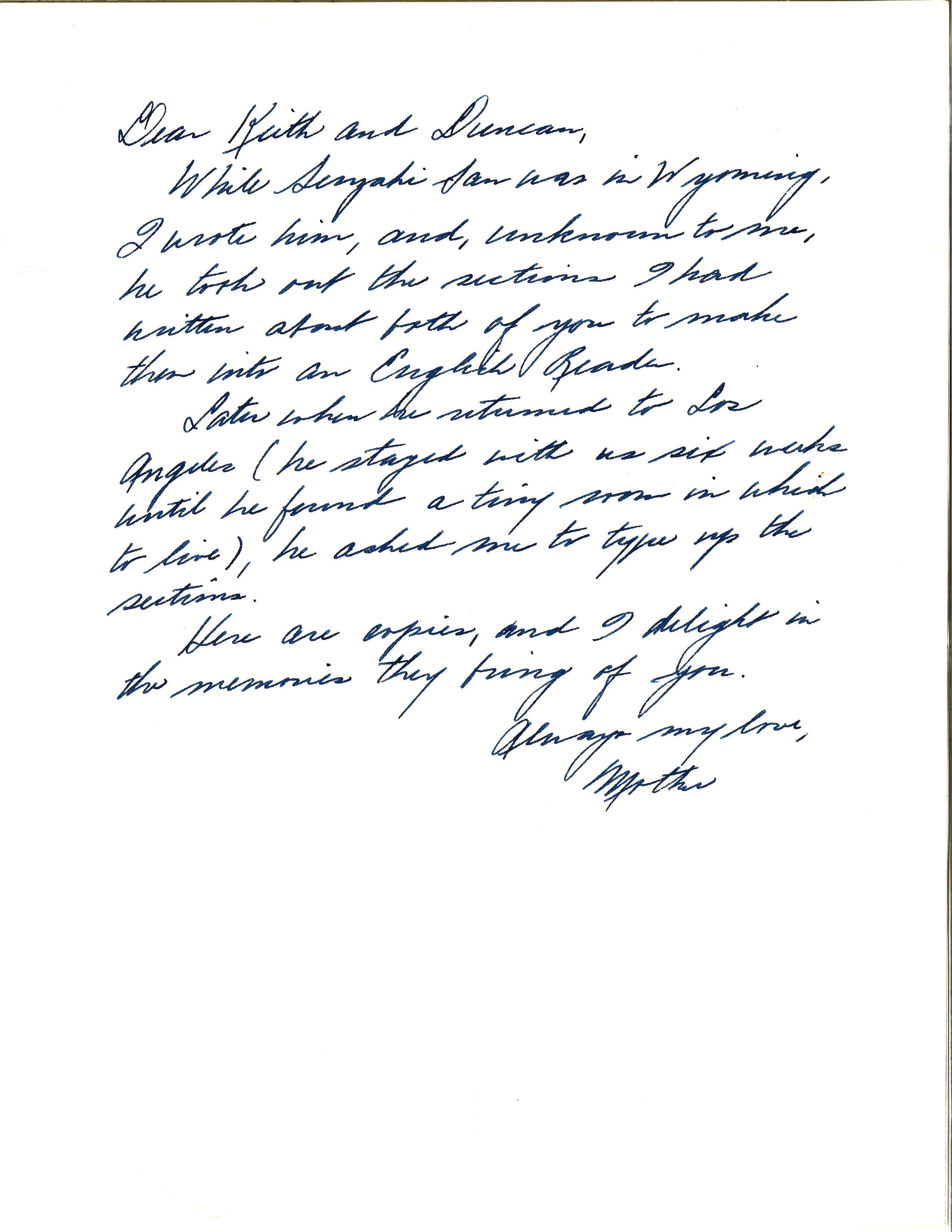 McCandles letter to her sons