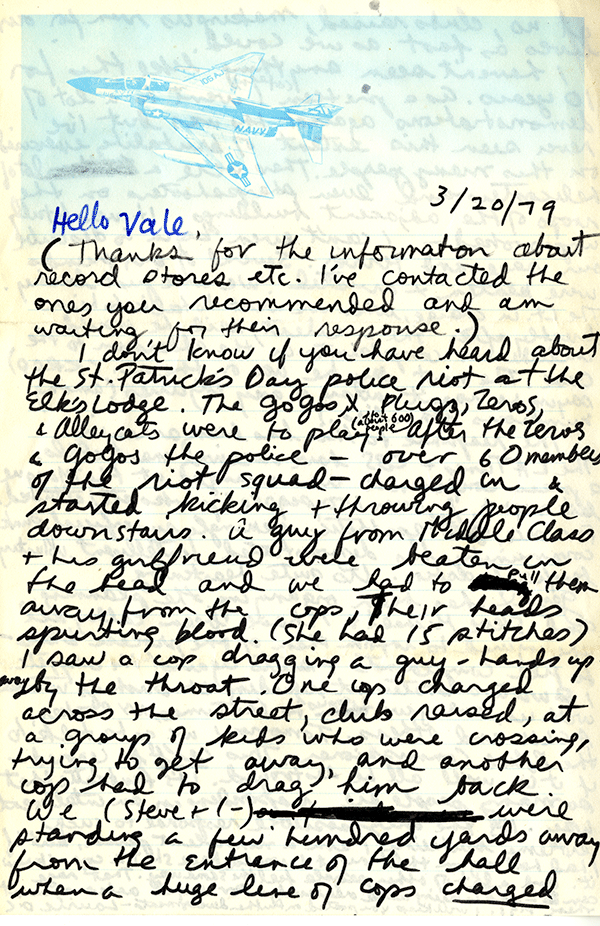 """Correspondence recounting a police invasion into a packed show at the Elks Lodge in 1979, known informally as the """"Elks Lodge Massacre."""" page 1"""