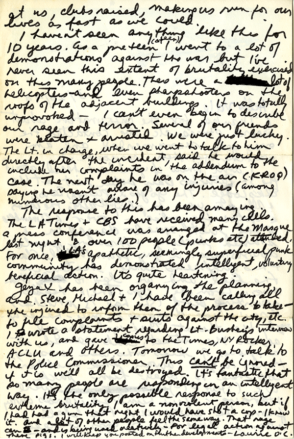 """Correspondence recounting a police invasion into a packed show at the Elks Lodge in 1979, known informally as the """"Elks Lodge Massacre."""" page 2"""
