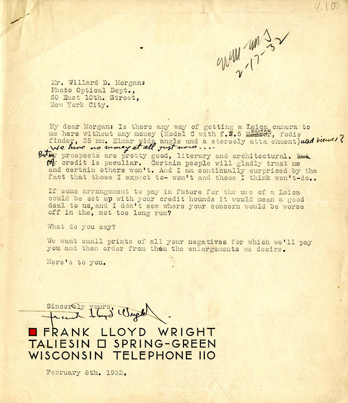 1 of 2 letters between Willard Morgan and Frank Lloyd Wright