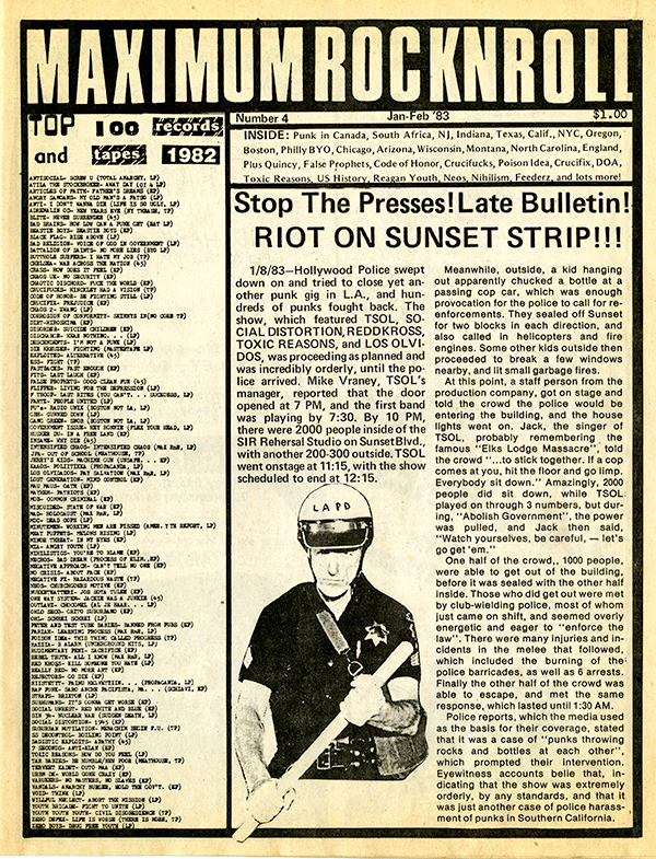 """Cover of a 1983 issue of Maximum Rock 'n' Roll, recalling the specter of the """"Elks Lodge Massacre"""" as it reports another violent encounter with the LAPD."""