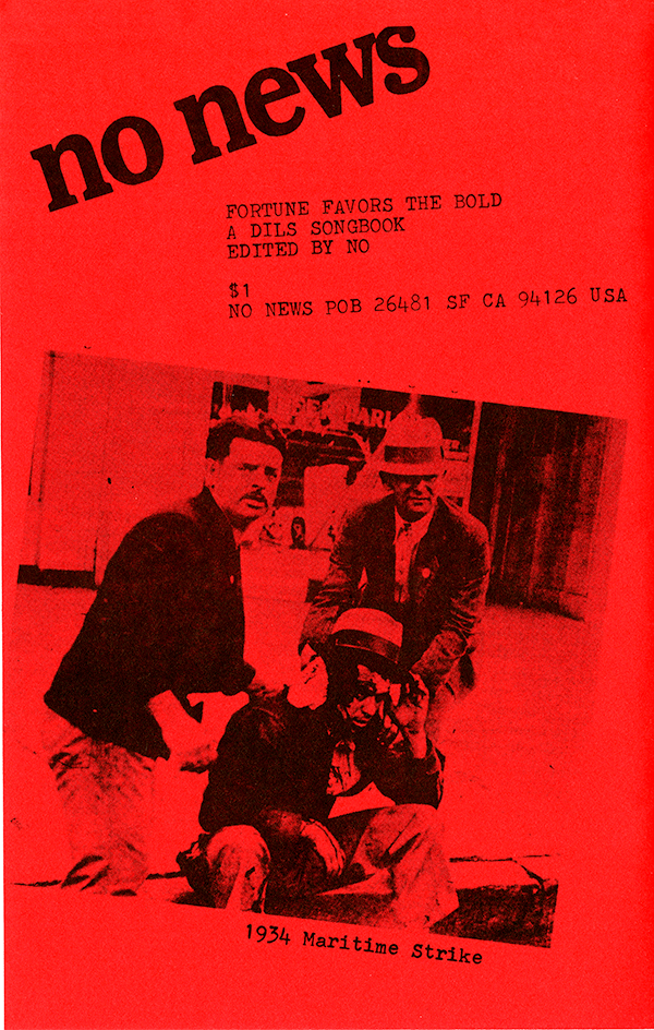 Back cover of a Dils songbook,