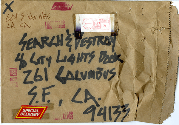 Envelope sent to Search & Destroy from X.