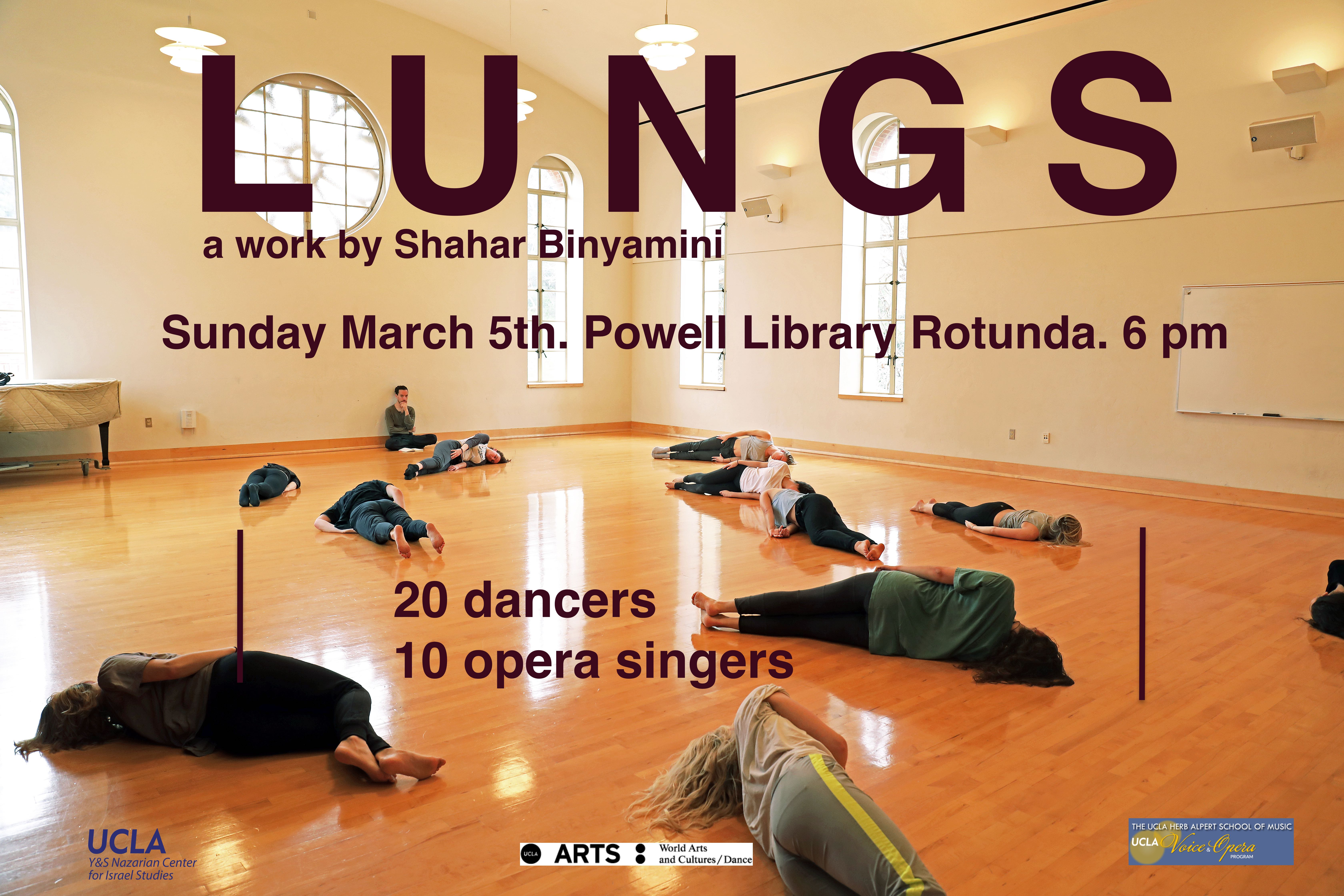 Flyer for L U N G S performance. Photograph of several people lying prone on the floor of a dance studio, with one person sitting observing them.