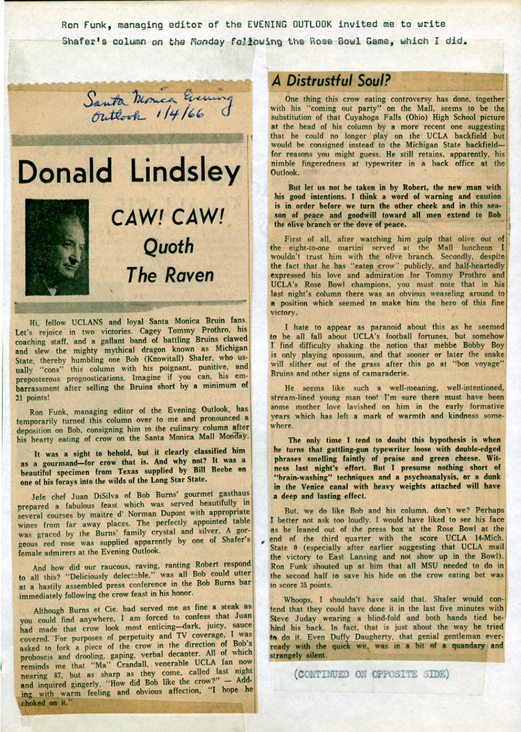 Donald Lindsley Caw! Caw! Quoth The Raven