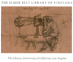 Image of drawing inside one of Dr. Elmer Belt's collection of books and materials about Leonardo da Vinci and the Italian Renaissance.