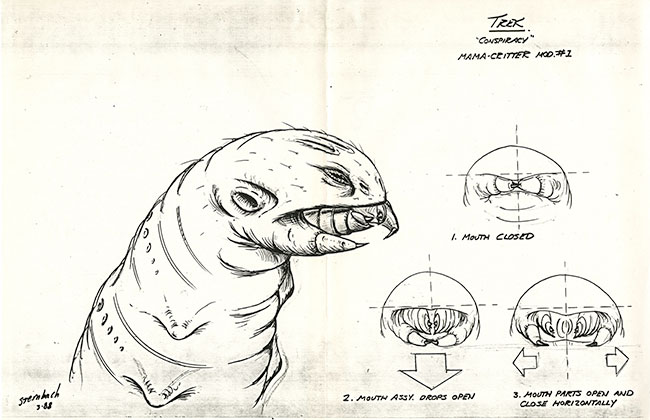 "A sketch of a Star Trek ""mama-critter"" from the episode ""Conspiracy"""