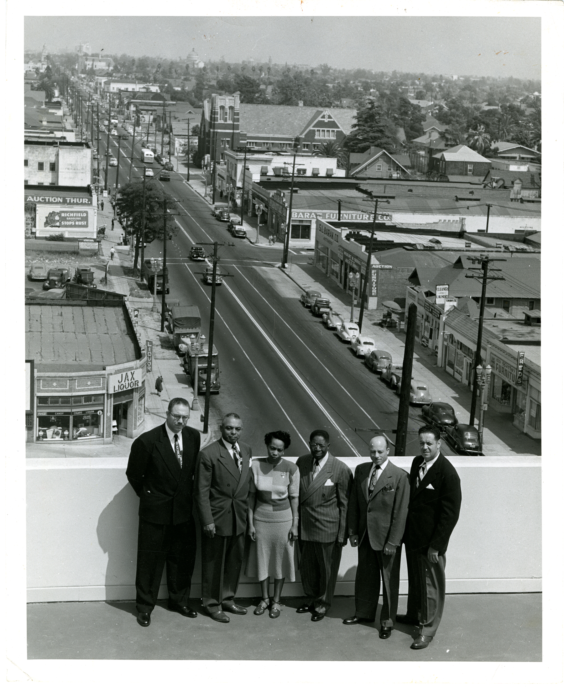 Golden State Mutual Life Insurance executives on rooftop of Home Office building in 1949.
