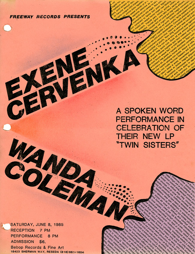 Exene Cervenka and Wanda Coleman flyer