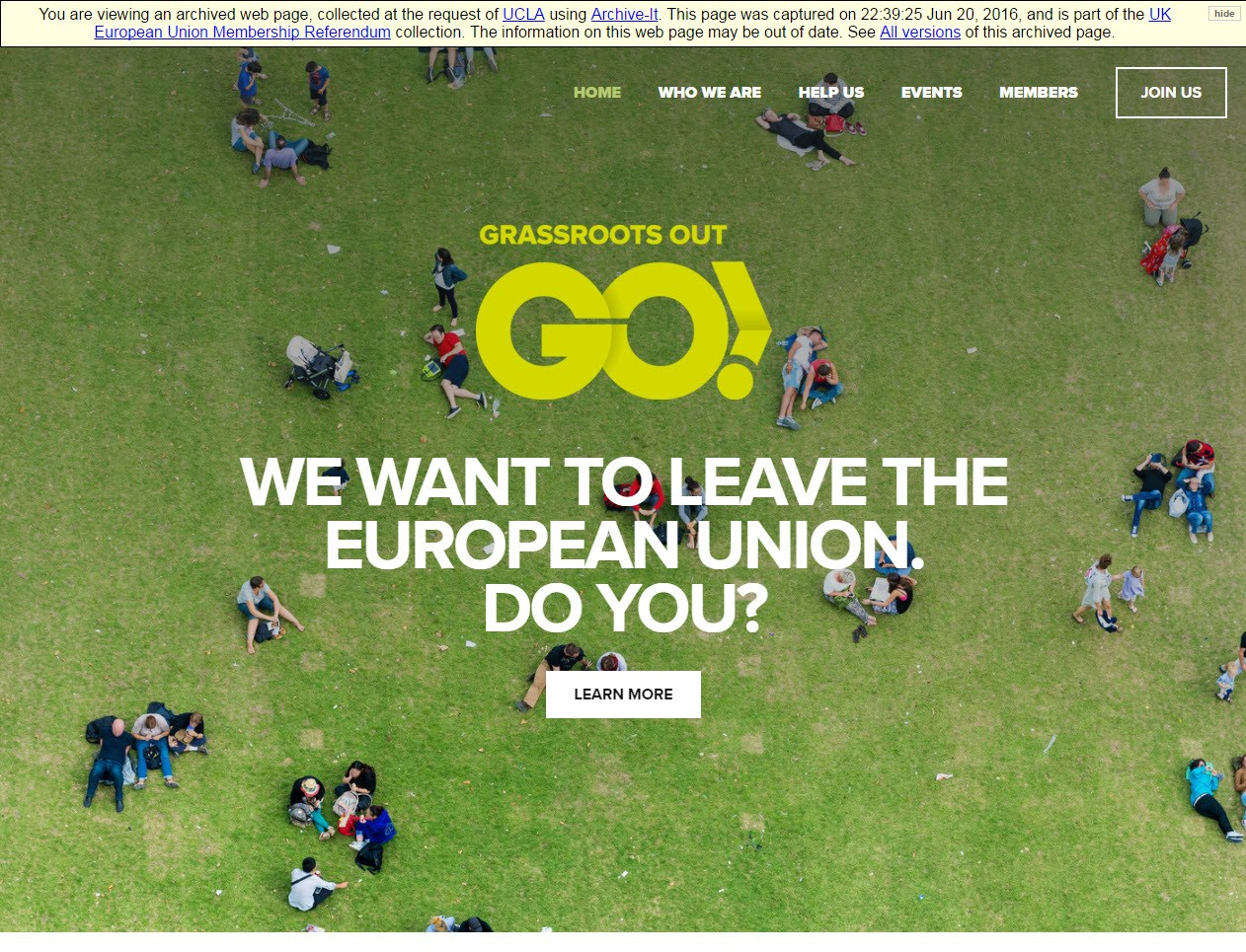 "Homepage of website for Grassroots Out Go! campaign, with text ""We want to leave the European Union. Do you?"""