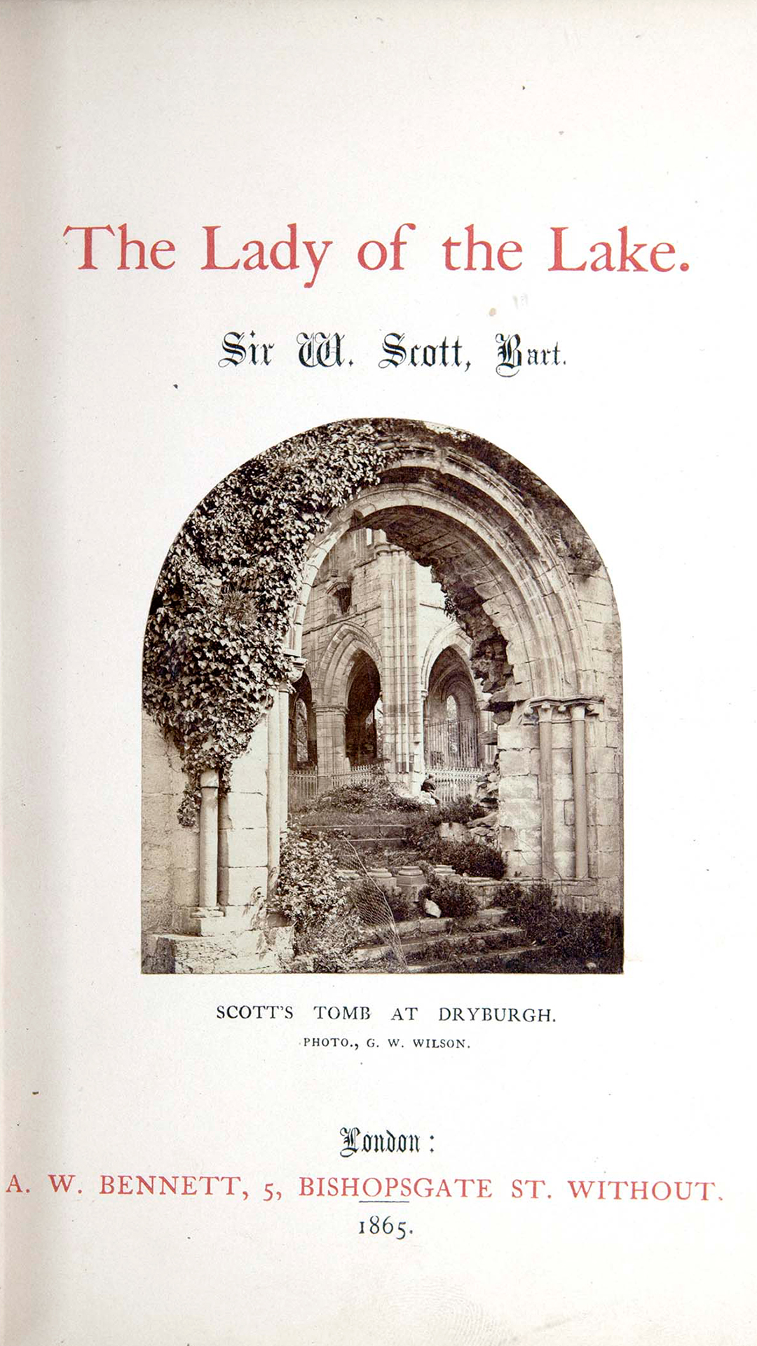 Photo of Scott's tomb at Dryburgh from The Lady of the Lake by Sir Walter Scott