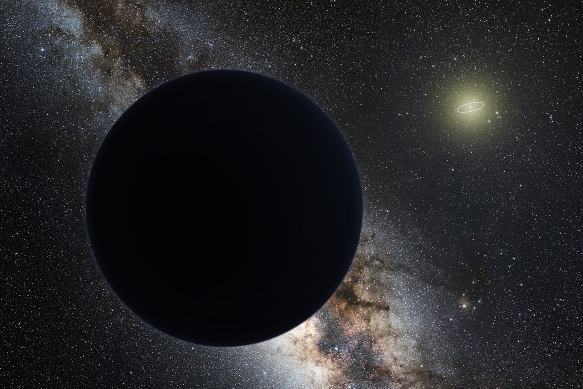 Artist conception of Planet 9 against space background