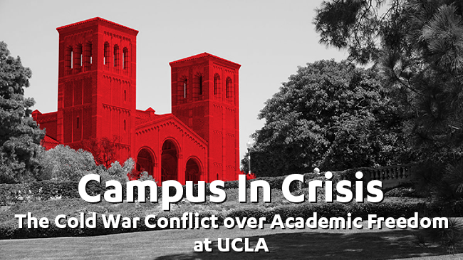 UCLA Royce Hall with red overlay Campus in Crisis banner