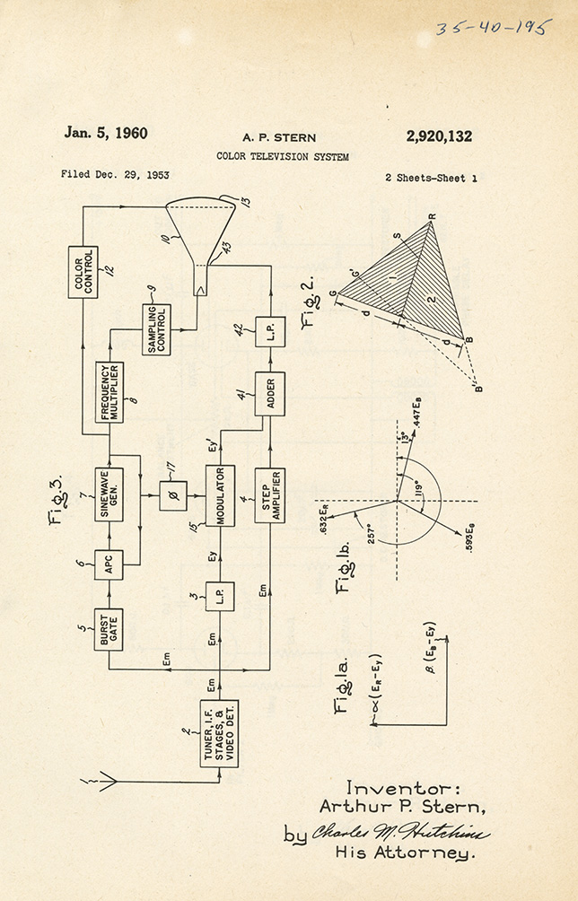 Patent application by Arthur Stern for Color Television (1960)