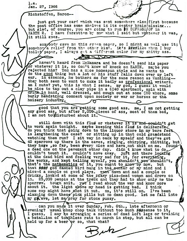 Letter from Charles Bukowski to Steve Richmond
