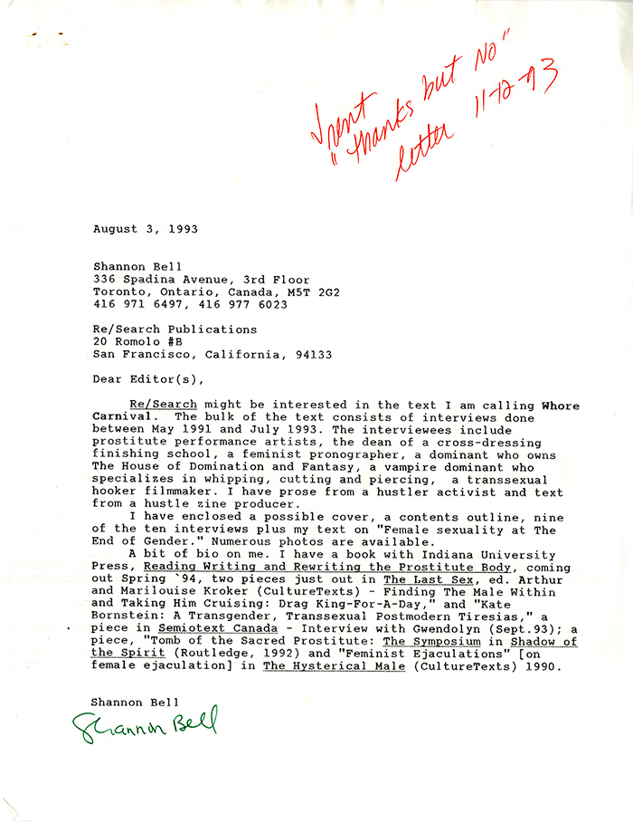 Image of Proposal Letter for Whore Carnival by Shannon Bell.