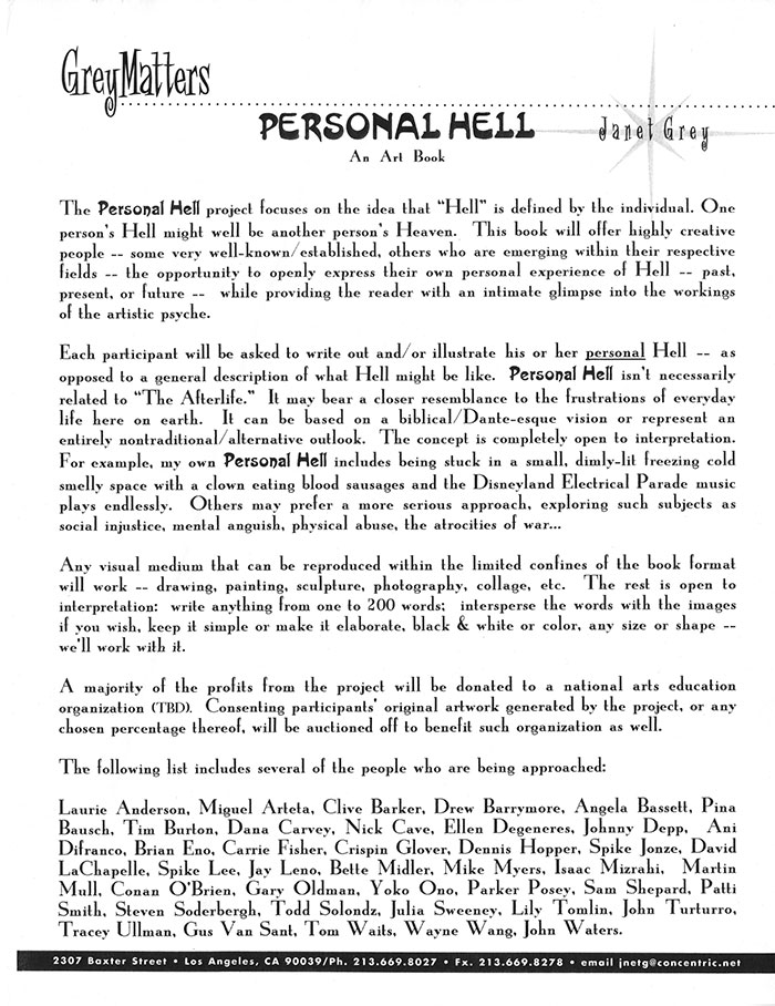 "1 of 2 images of Proposal for ""Personal Hell: An Art Book"" by Janet Grey."