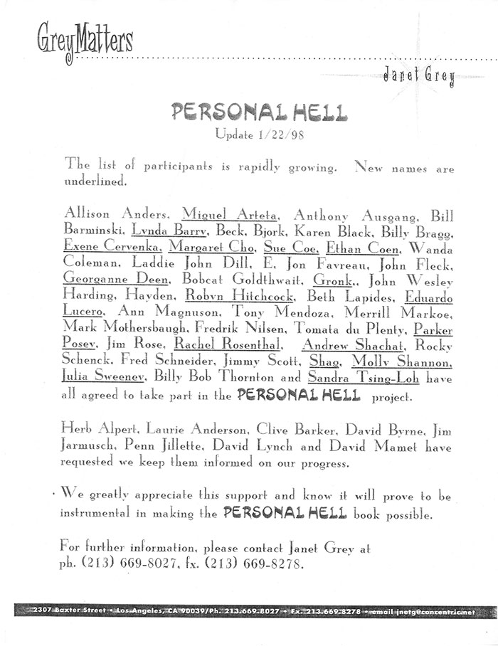 "2 of 2 images of Proposal for ""Personal Hell: An Art Book"" by Janet Grey."