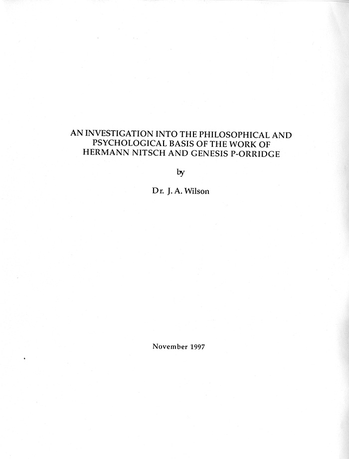 Image of Title Page for An Investigation into the Philosophical and Psychological Basis of the Work of Hermann Nitsch and Genesis P-Orridge by Dr. J.A. Wilson.