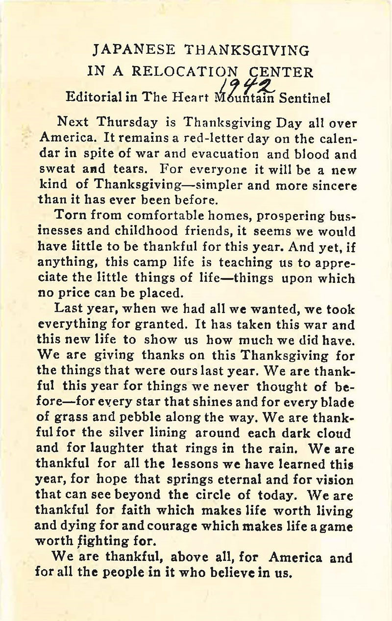 Image of newspaper article titled Japanese Thanksgiving in a Relocation Center - Editorial in The Heart Mountain Sentinel