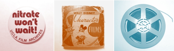 nitrate won't wait button, walt disney character films, film reel