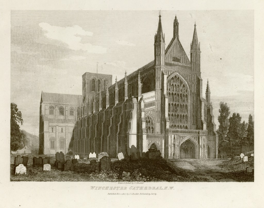 a scan of an etching of Winchester Cathedral