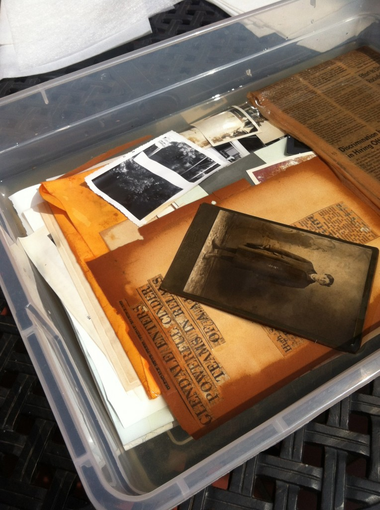Archival materials in water