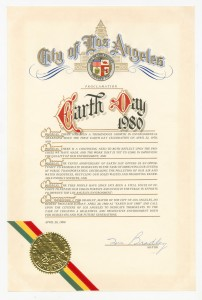 City of Los Angeles Earth Day Proclamation, 1980, signed by Mayor Tom Bradley.