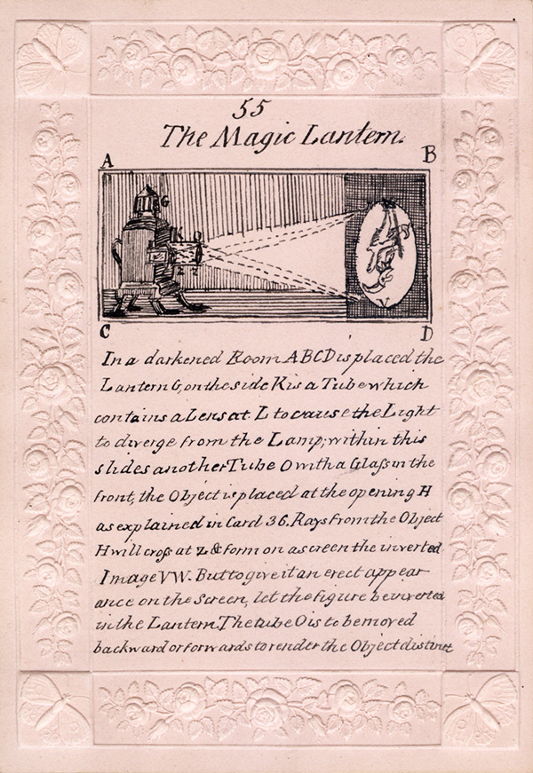 Card 55: The magic lantern. Optical cards by Mary Lewis, Camp Hill, December, 1828  (BIOMED Ms. Coll. no. 347 RARE)