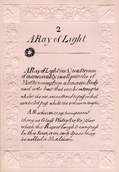 Card 2: A ray of light. Optical cards by Mary Lewis, Camp Hill, December, 1828  (BIOMED Ms. Coll. no. 347 RARE)