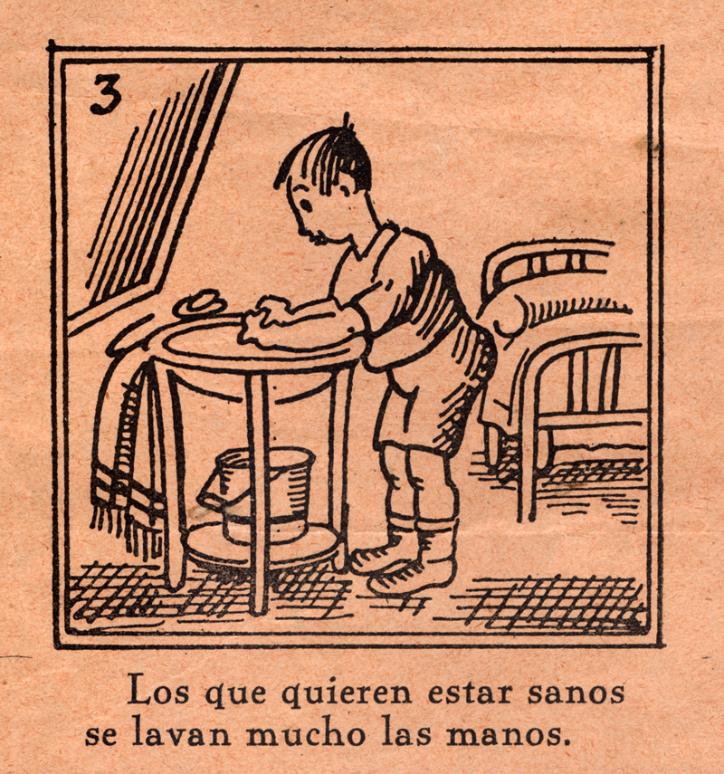 Public health and hygiene broadside for children, Aleluyas de higiene general dedicadas a  los niños de las escuelas primarias (Madrid?, ca. 1930s)