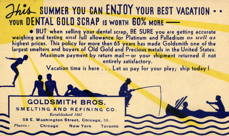 Goldsmith Bros. Smelting and Refining Co. postcard, postmarked from the 1934 Chicago  World's Fair