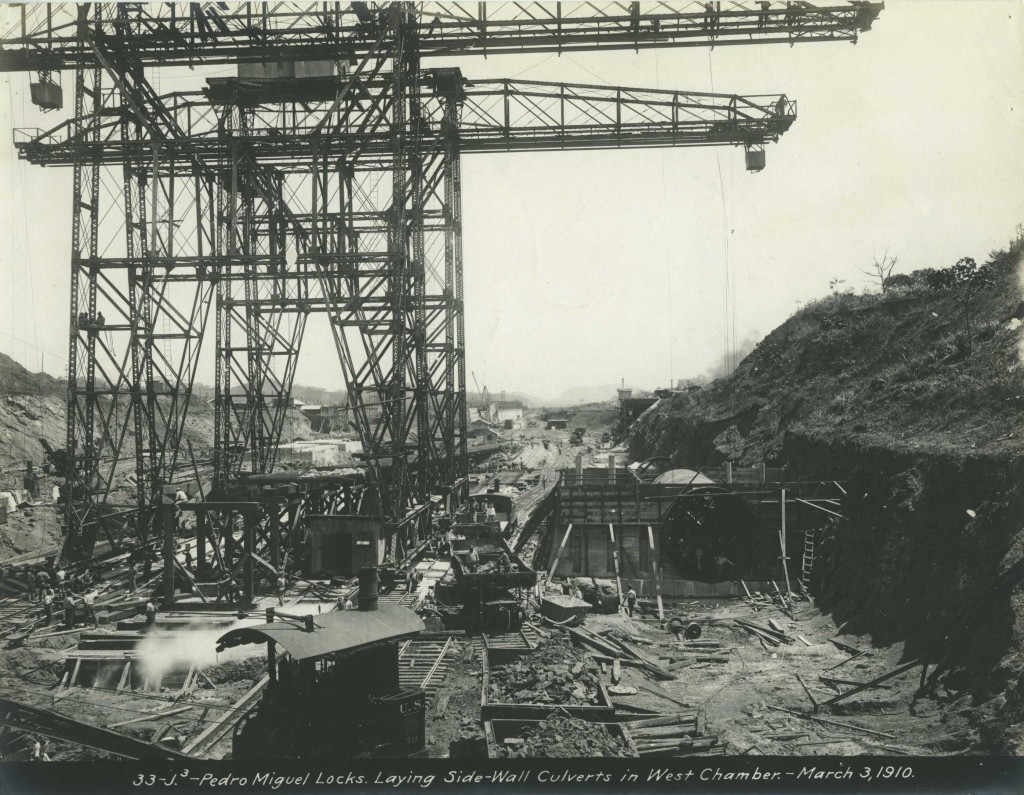 Pedro Miguel Locks. Laying Side-Wall Culverts in West Chamber. March 3, 1910