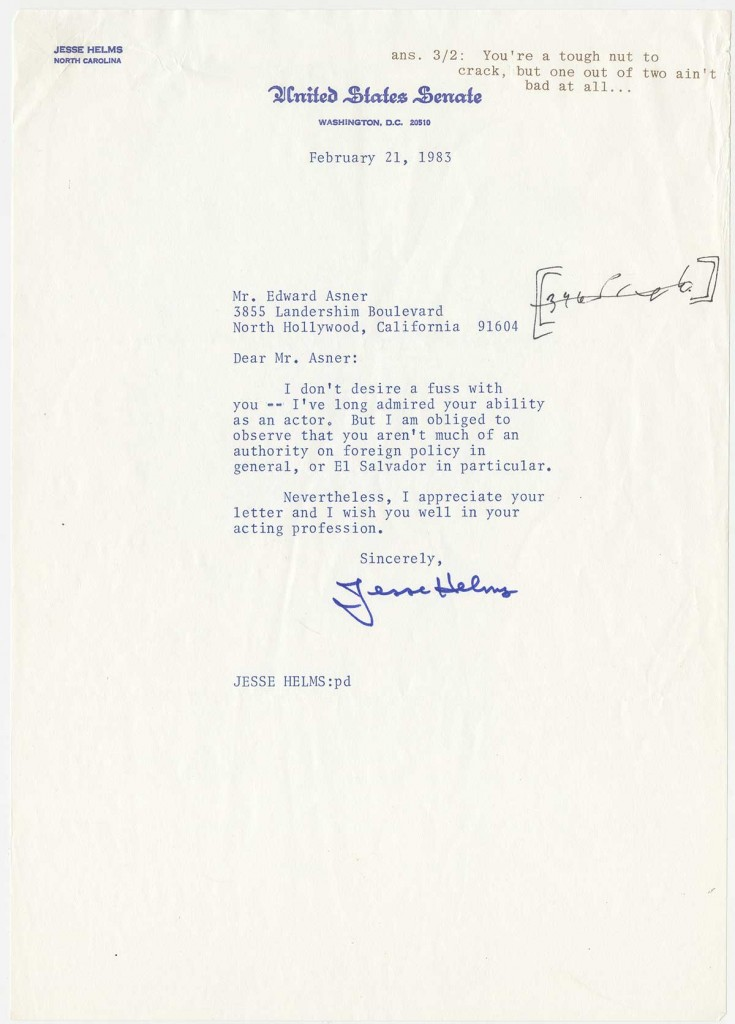 Letter from Jesse Helms to Ed Asner