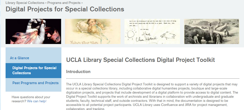 UCLA Library Special Collections Digital Project Toolkit