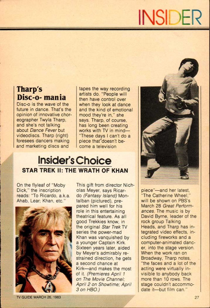 Twyla Tharp TV Guide from 1983