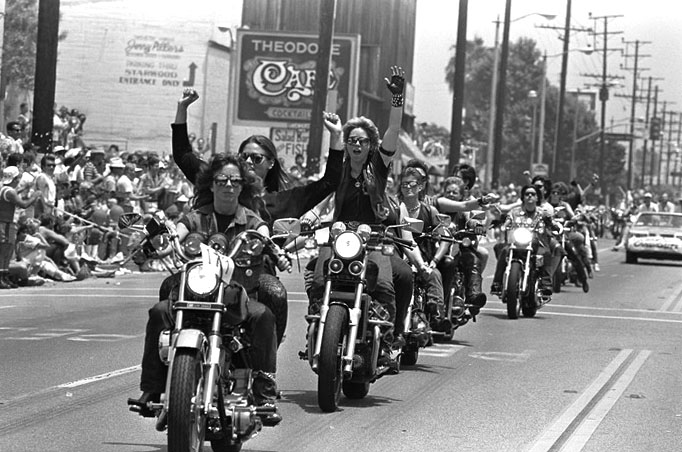 Women bikers in Gay Pride Parade, West Hollywood, 1986.