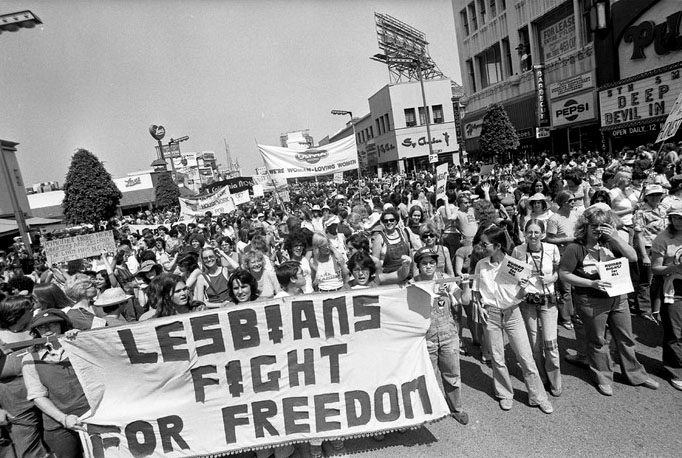 Gay Pride Parade on Hollywood Blvd. in Los Angeles, 1977.