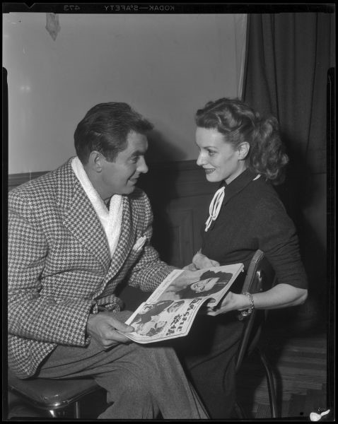 Tyrone Power and Maureen O'Hara during production of The Long Gray Line, 1952