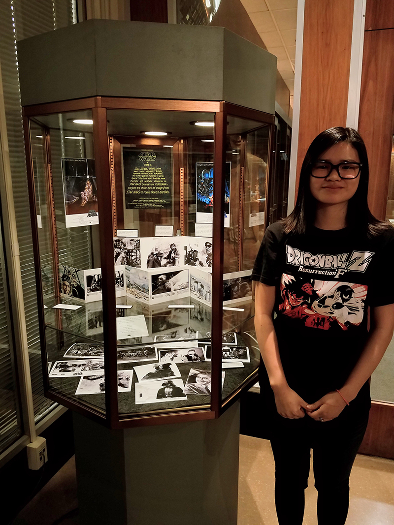 Graduating Senior Jeannie Ma with her Star Wars | Kurosawa flash exhibit