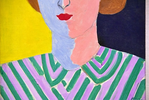 Detail of Henri Matisse, Portrait with Pink and Blue Face (1936-1937)