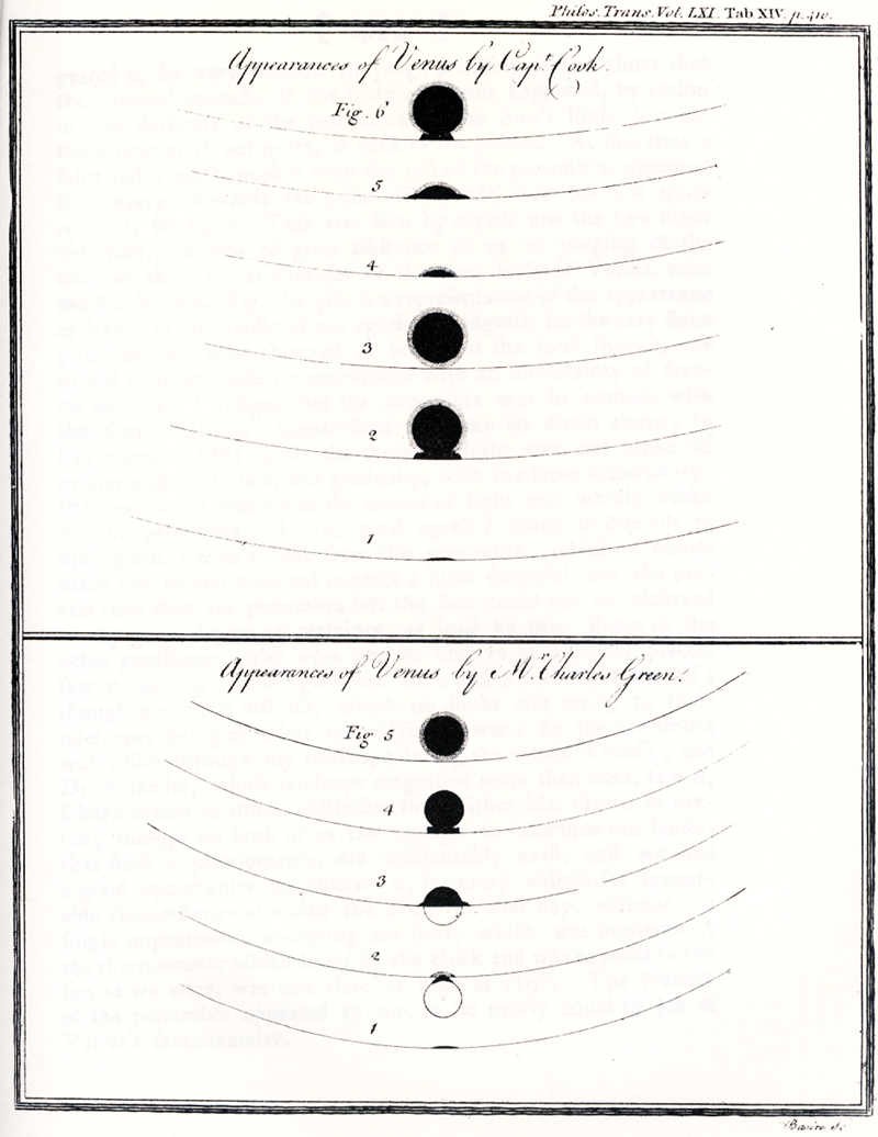 "Drawn image of the ""Appearance of Venus by Capt. Cook"""