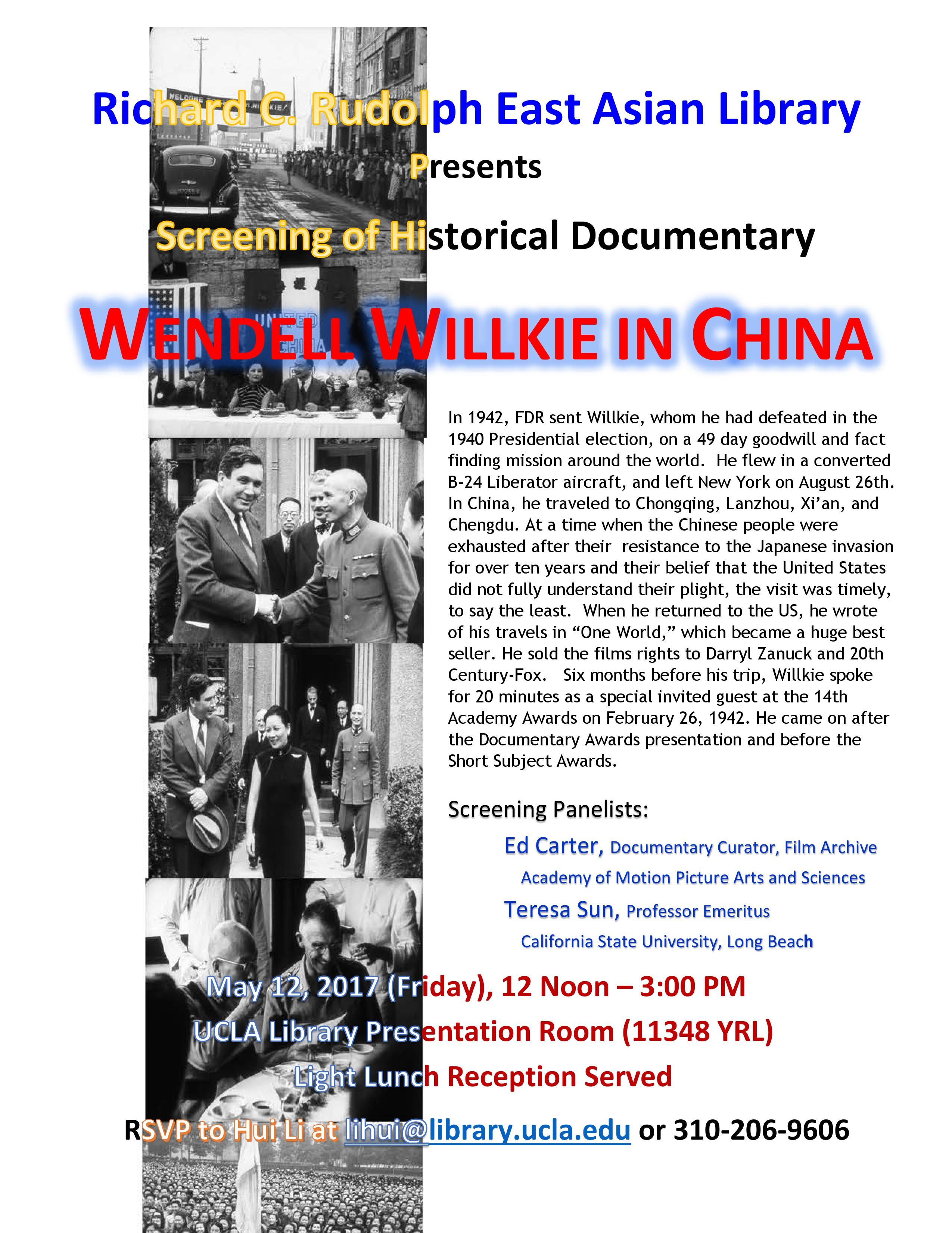 Screening of Historical Documentary: Wendell Willkie in China
