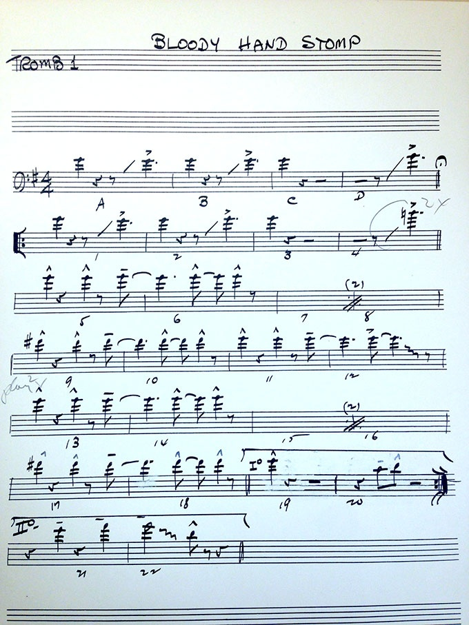 Music sheet for Bloody Hand Stomp