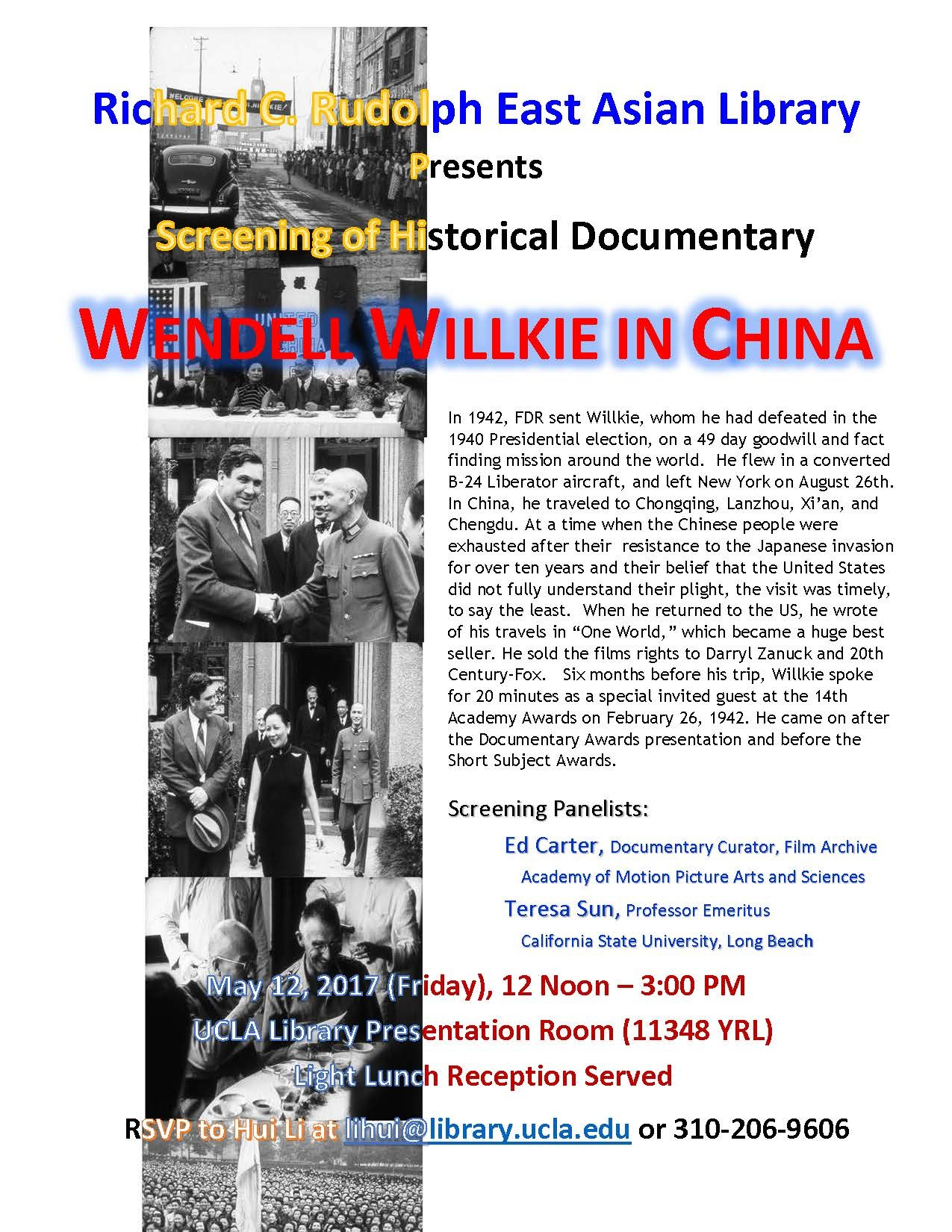 Willkie in China flyer with black and white photos of Willkie and event details