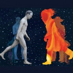 Art: photographic man and an orange figure walking towards one another against a backdrop of stars