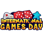 Text: International Games Day with image of game console controller, dice, and an avatar