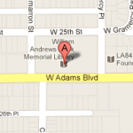 Map image showing location of William Andrews Clark Memorial Library