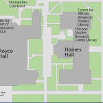 Map image showing location of Ralph J. Bunche Center for African American Studies Library and Media Center