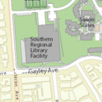 Map image showing location of Southern Regional Library Facility